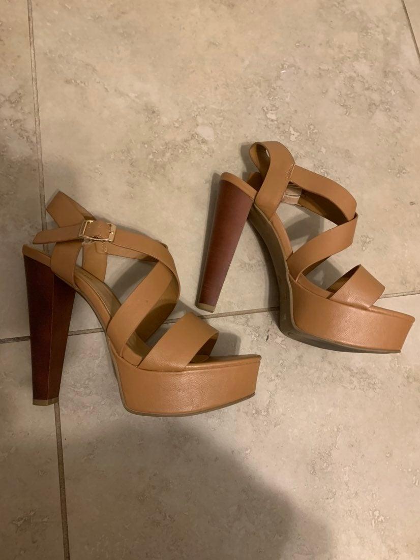 Brown Platform Heeled Sandals