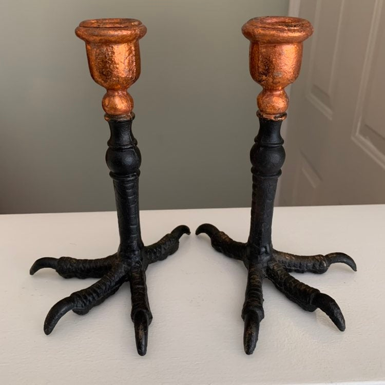 Crow Raven Talon Candlesticks Cast Iron