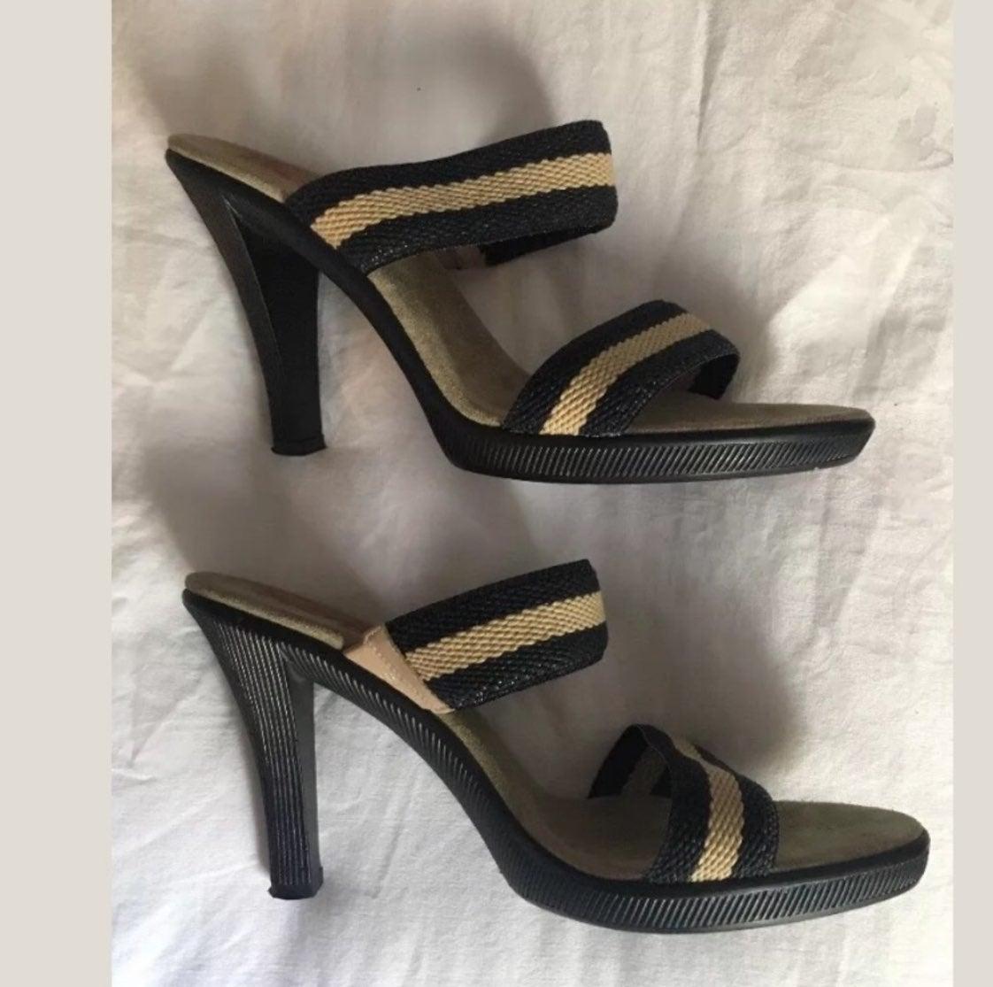 "Michael Kors Striped 4"" Woven Sandals"