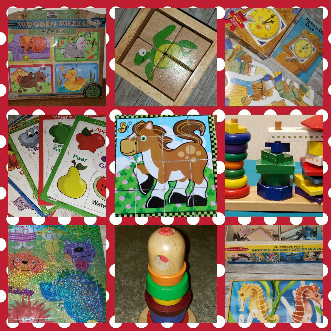 Wood learning toys and puzzles Lot