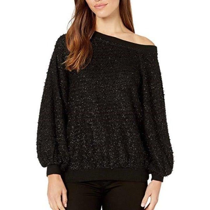 1.State Off-the-Shoulder Eyelash Sweater