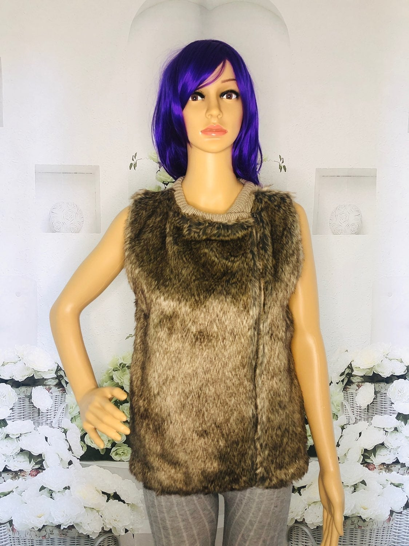 Poof! Brown Faux Fur Knit Sweater Vest S