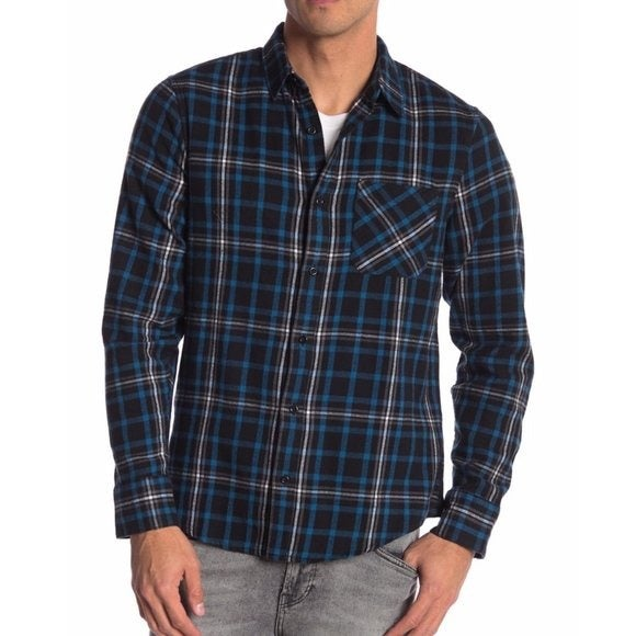 PUBLIC OPINION Men's Plaid Flannel Blue