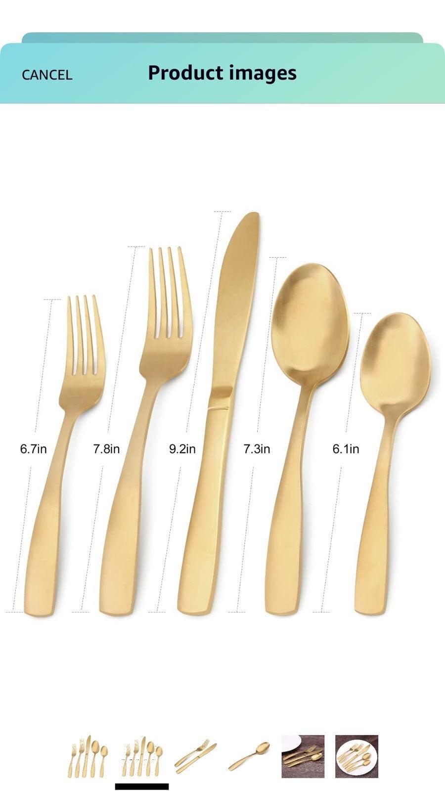 Matte gold silverware 20 pieces