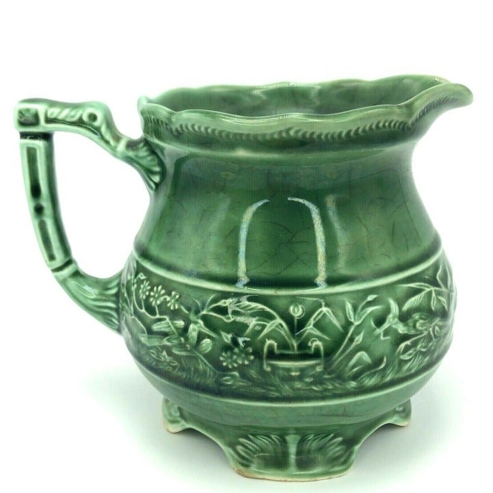 Vintage Glazed Green Ceramic Pitcher