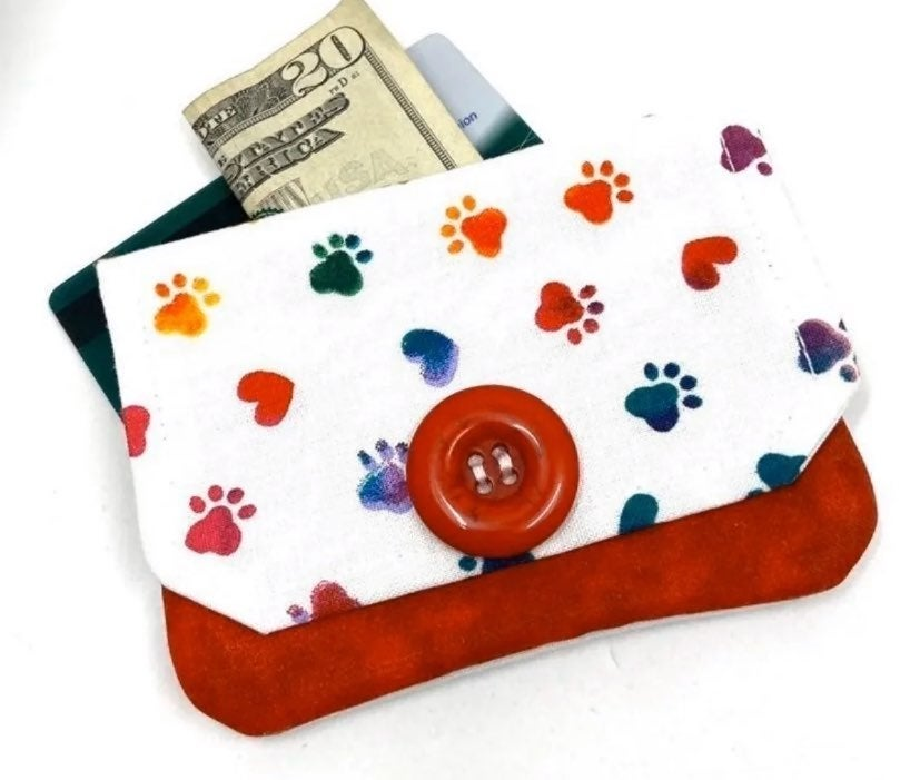 Paw Print Fabric Card Wallet- Handmade