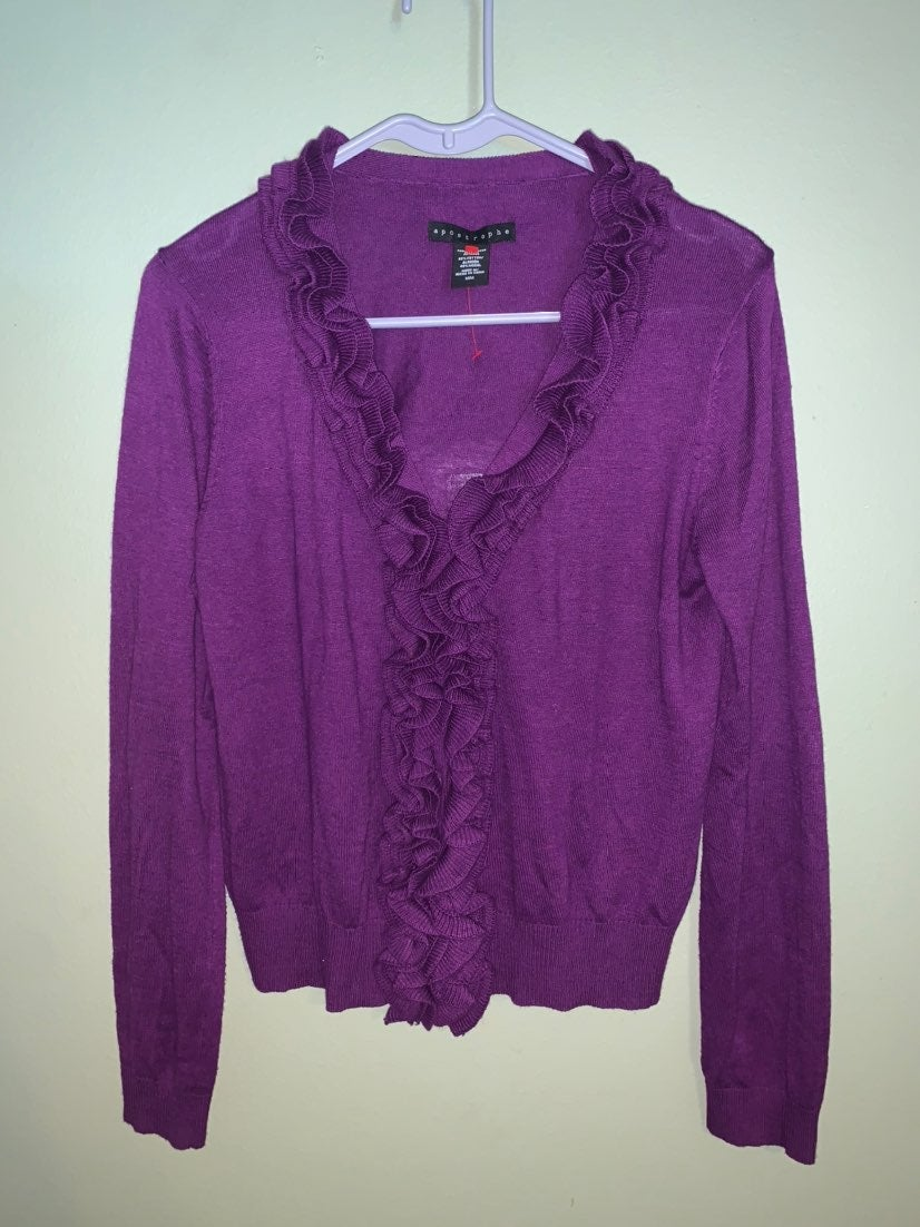 Apostrophe Ruffle Cardigan Sz Med Purple