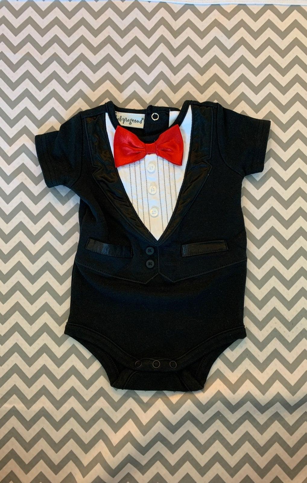 Baby tux onesie 6M