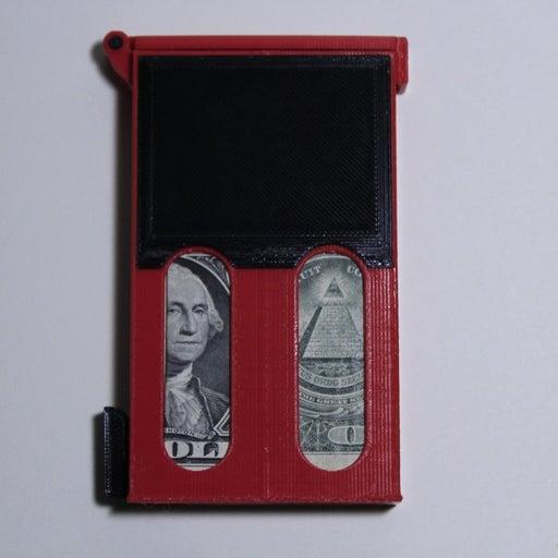 Lever action slim card wallet