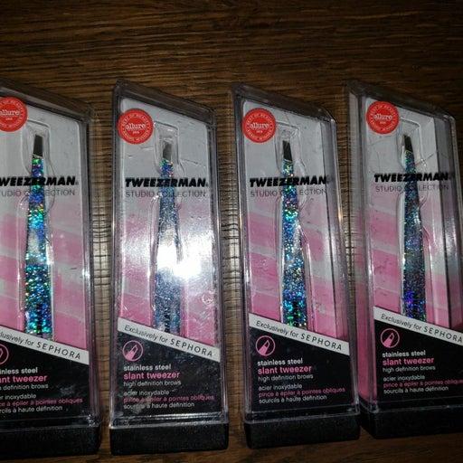 6 tweezerman slanted glitter  tweezers