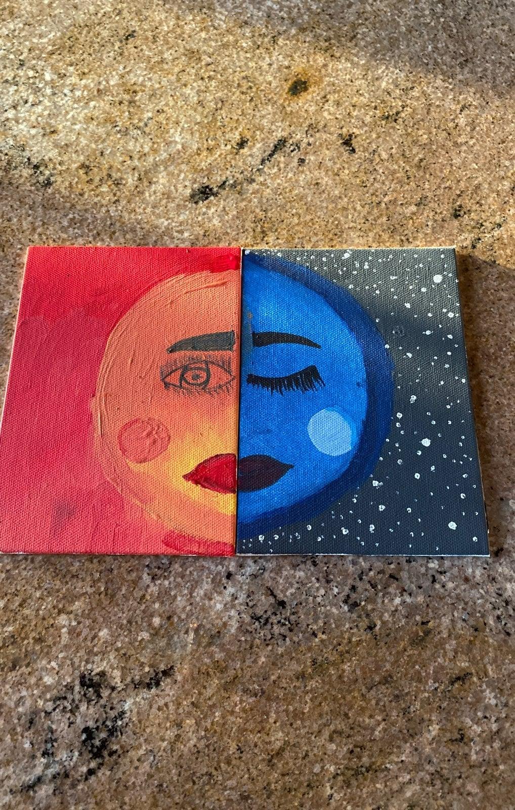 paintings and artwork half sun half moon