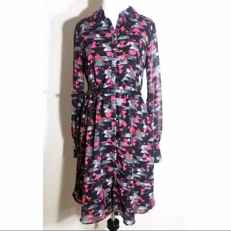 Kirna Zabete Long Sleeve Geo Dress