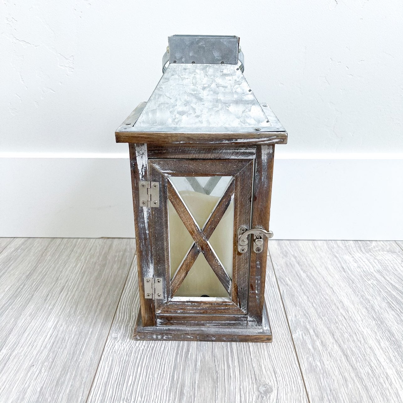 Farmhouse Galvanized Candle Lantern