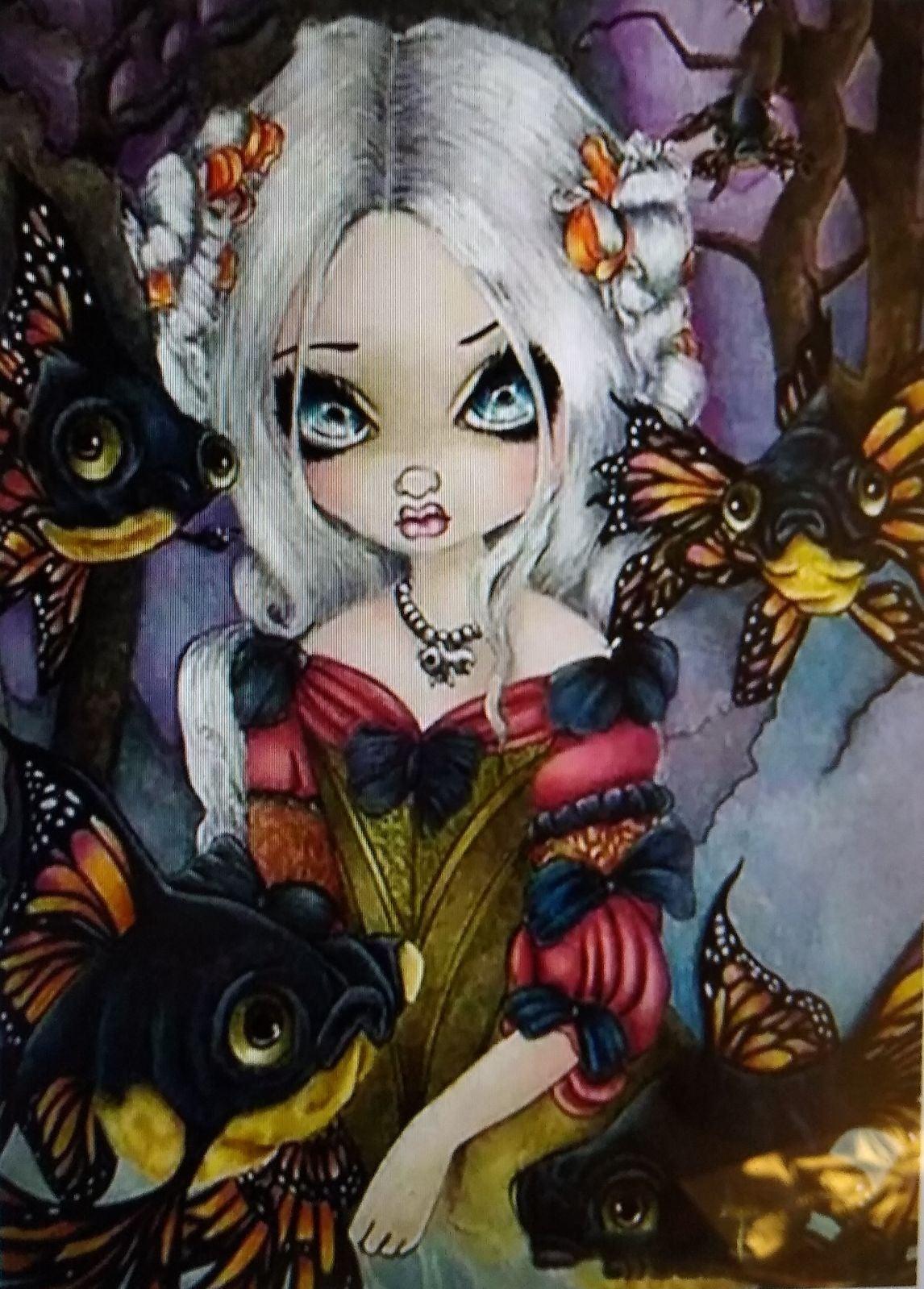 Big Eyed Girl/Doll & Fish Diamond Art