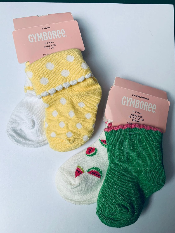New Gymboree Baby Socks 4 pairs 0-3M