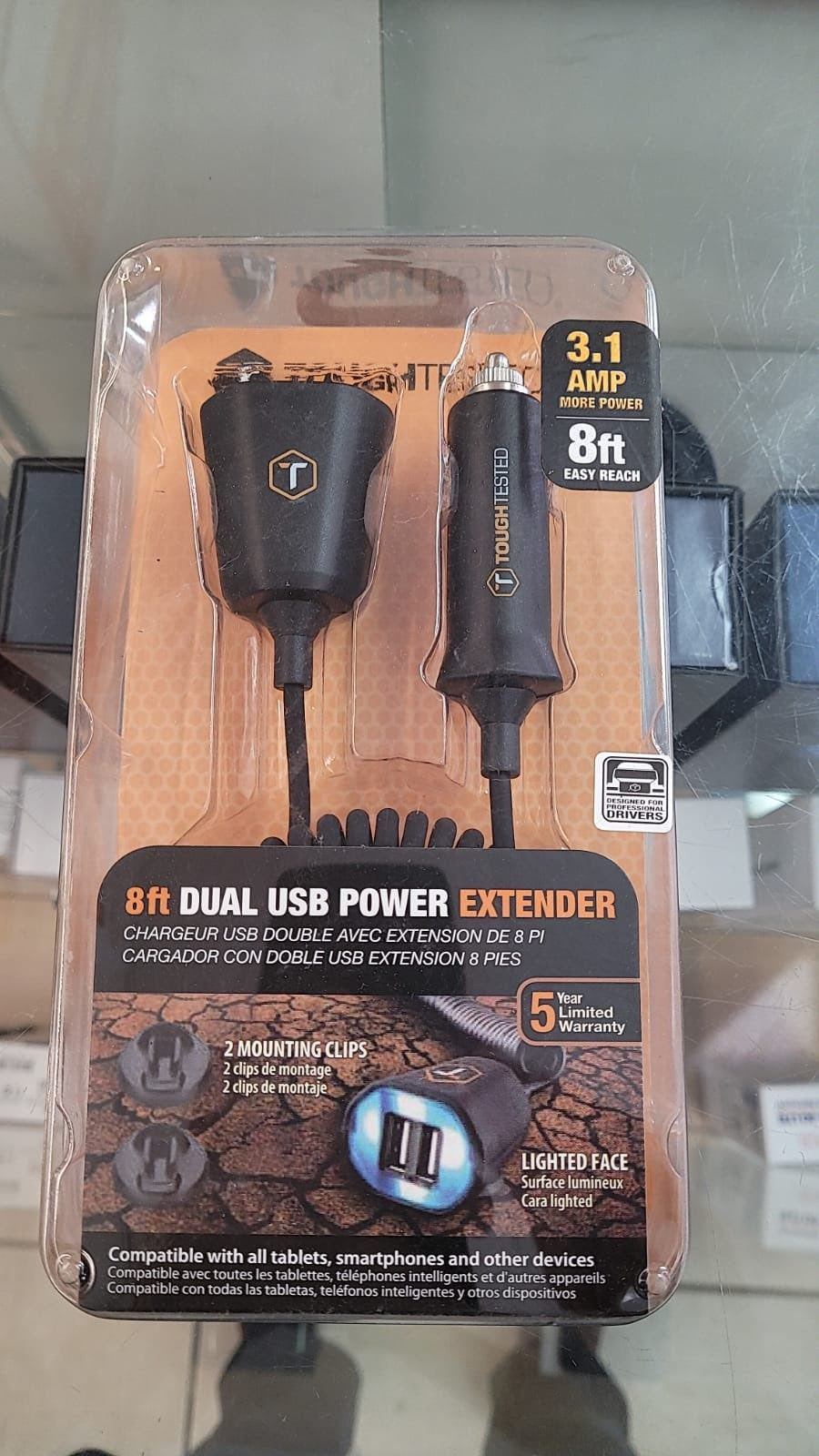 Toughtested 8ft Dual USB Power Extender