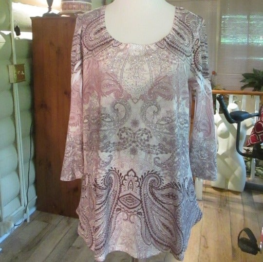 ONE WORLD BROWN PAISLEY BROWN KNIT TOP