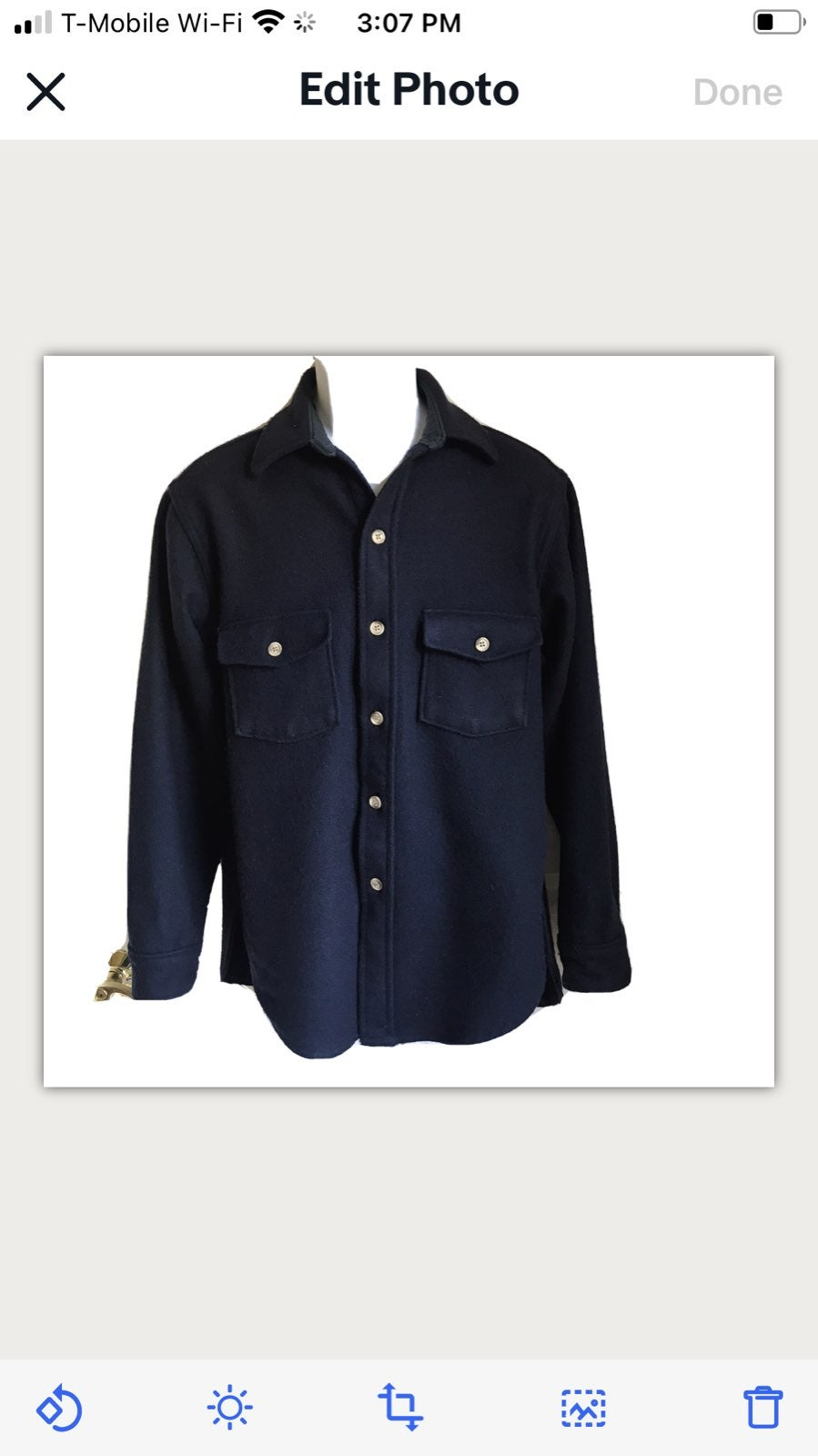 Lands End Wool Blue Button Down Shirt M