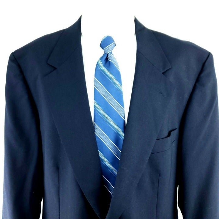 Savile Row 46L 2 Gold Button Blue Wool B