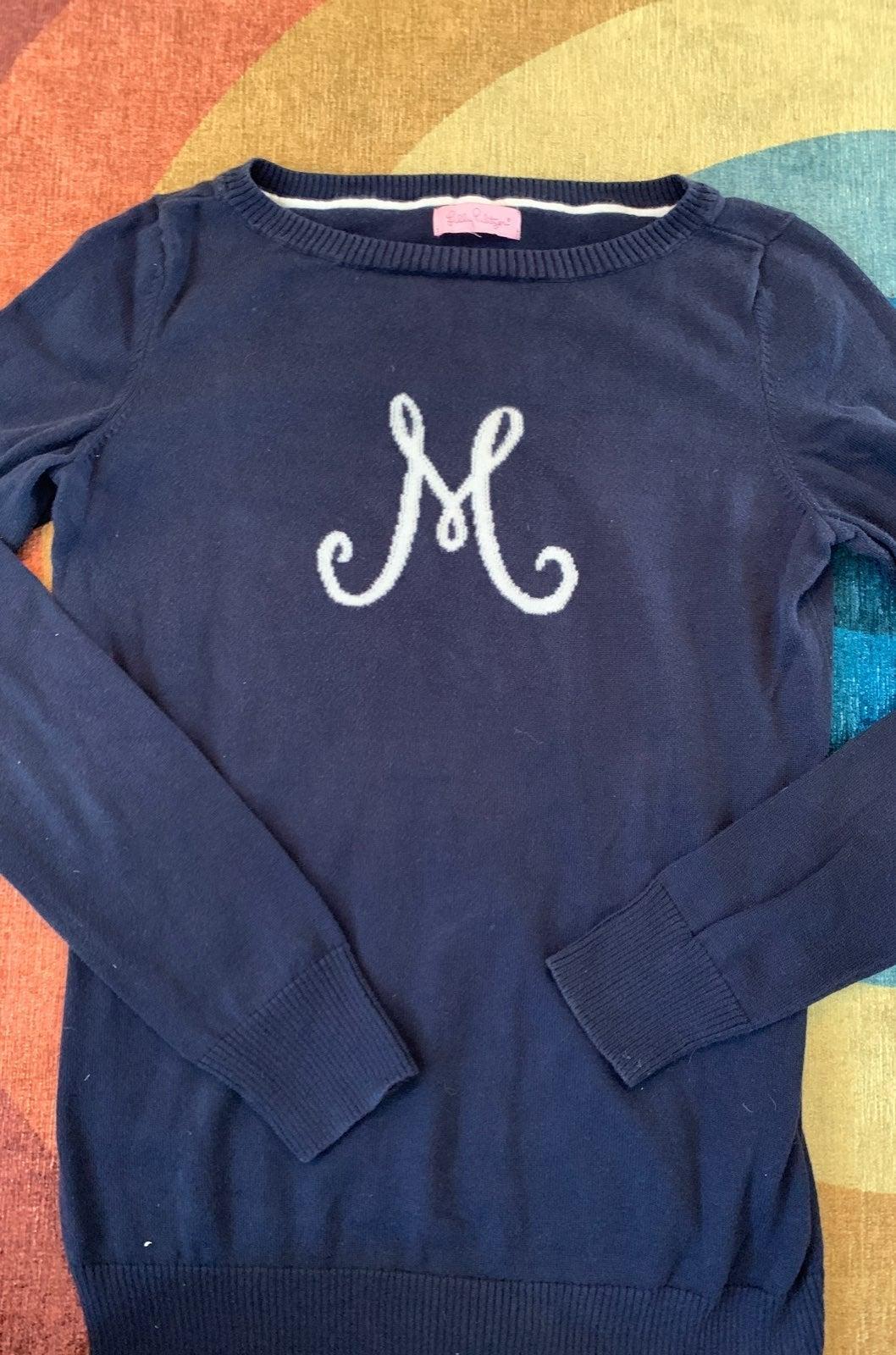 Lilly pulitzer navy M monogram sweater