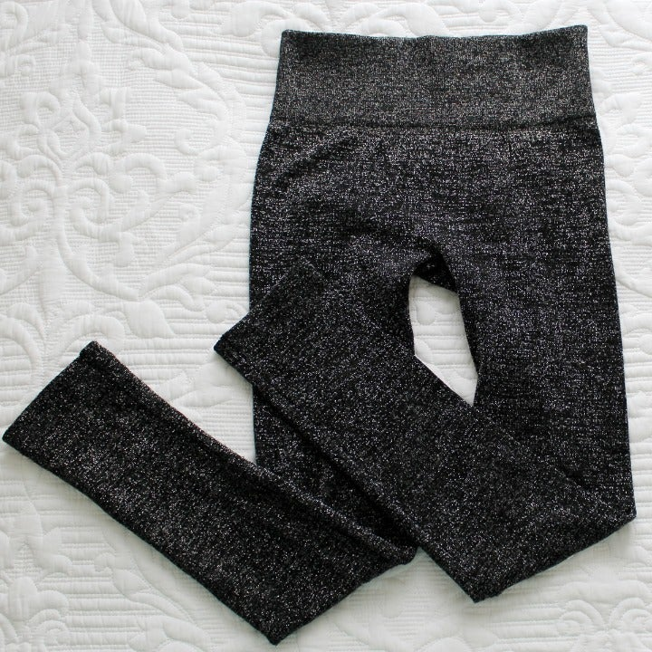 Leggings Lurex Black Silver Size S/M