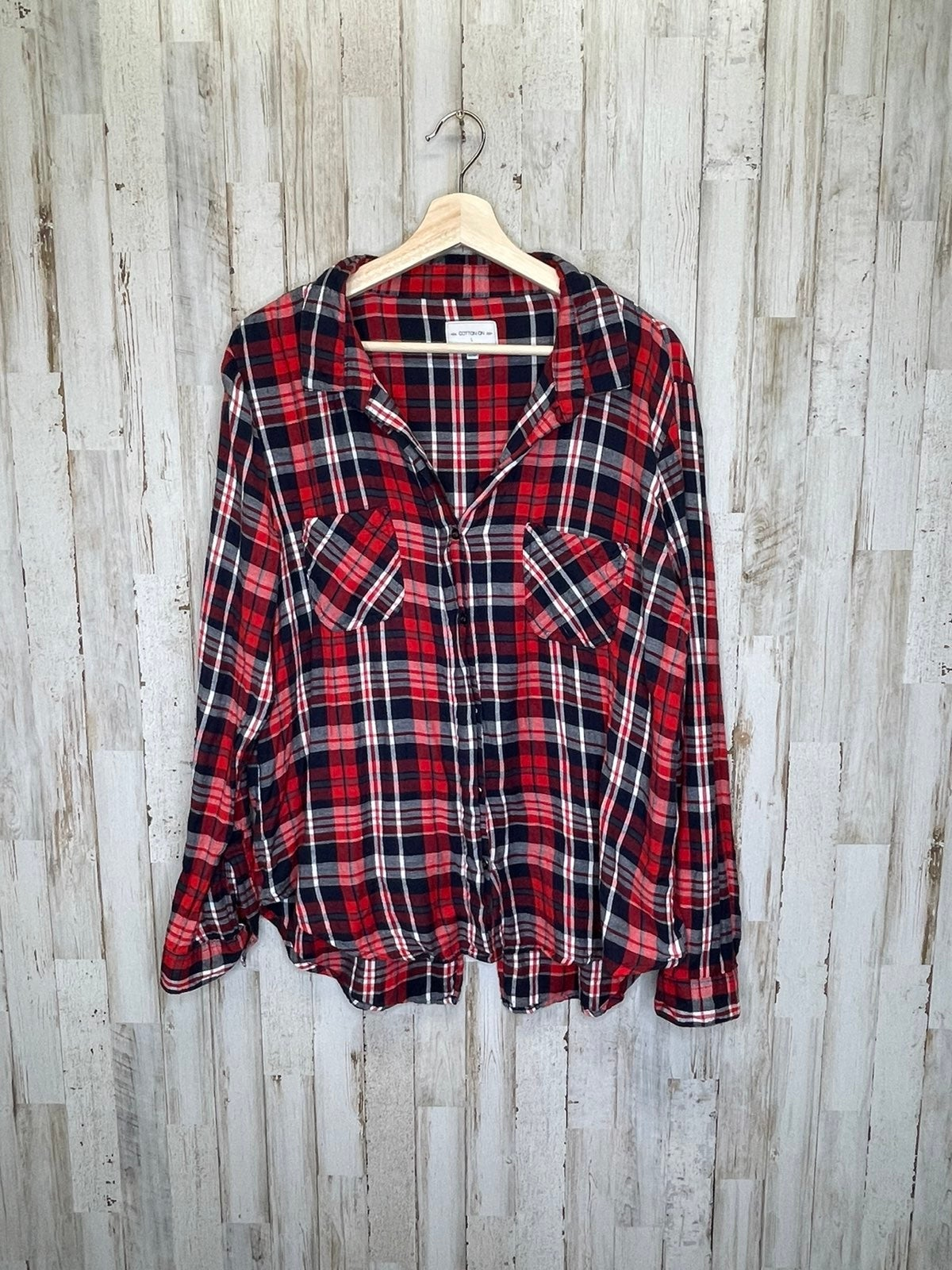 Cotton On large red plaid button up