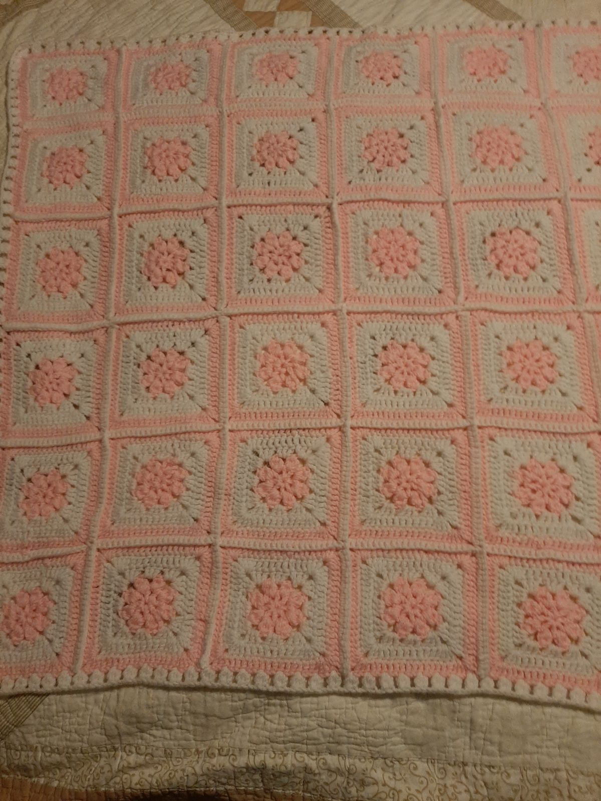 Crocheted Pink-White Squares Blanket