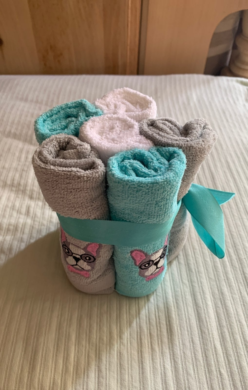 Frenchie 6-Pack Washcloths