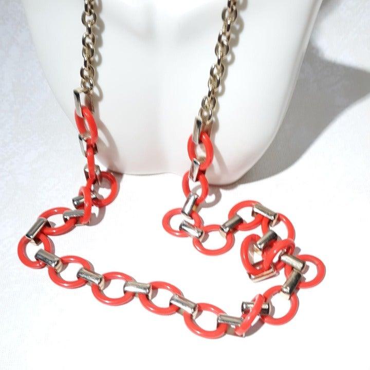 Ann Taylor Chain Necklace Orange 32″ Gol