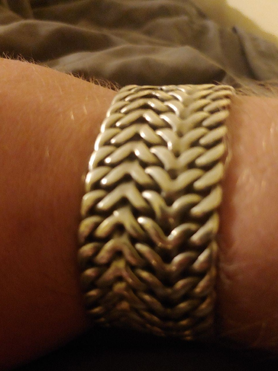 MASSIVE HEAVY .925 Silver Wheat Bracelet