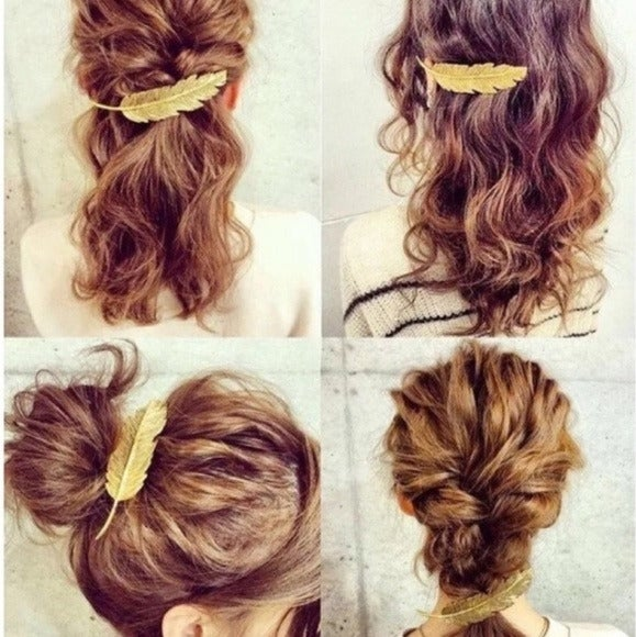 Brandy Melville Feather Gold Hair Clip