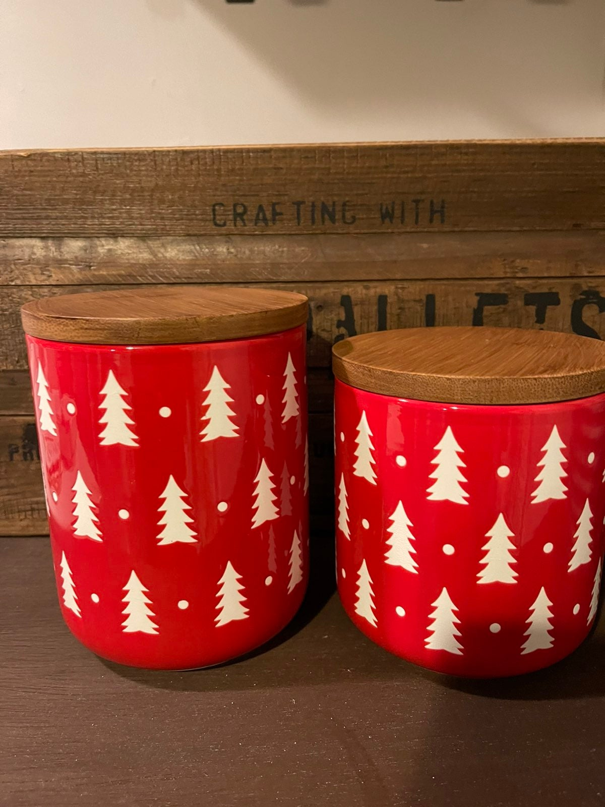 Christmas tree cellar canisters red and