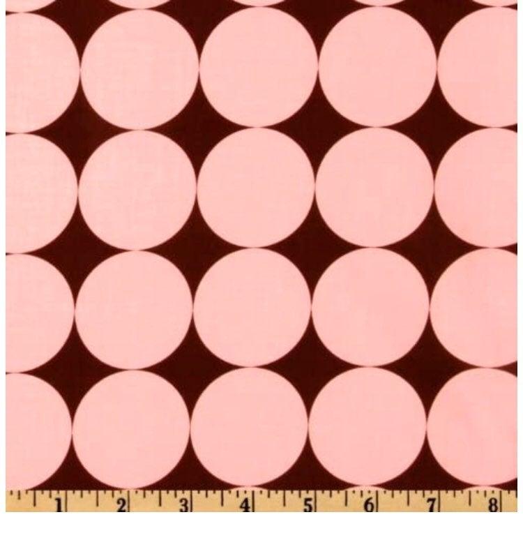 Pink on Brown Disco Dots Fabric Yard