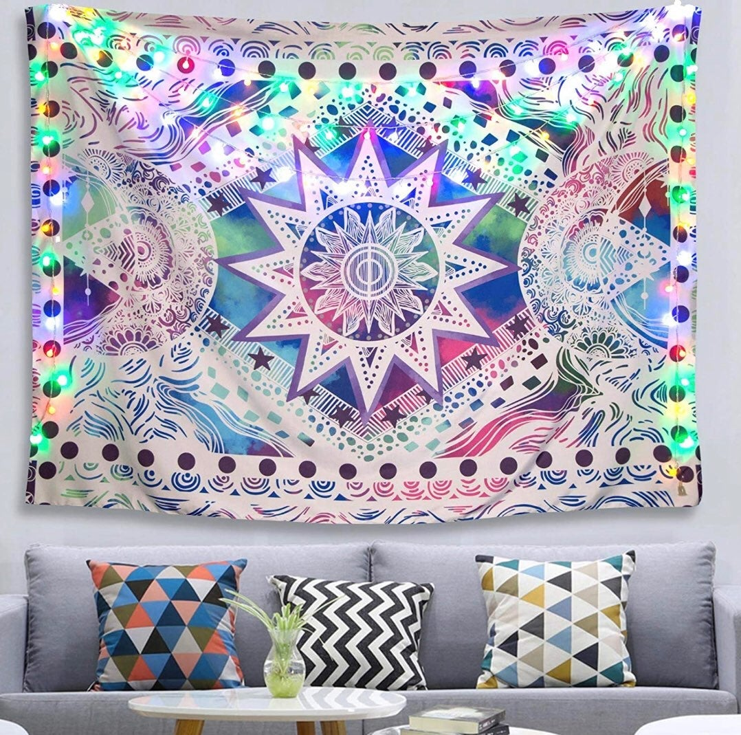 The Sun & Moon Trippy Wall Tapestry