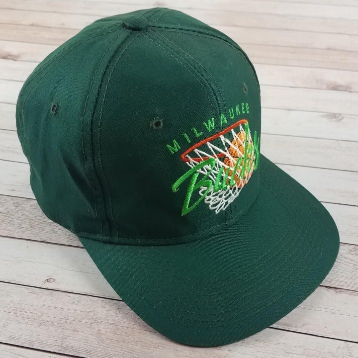 Rare VTG 90s Milwaukee Bucks Script Hat