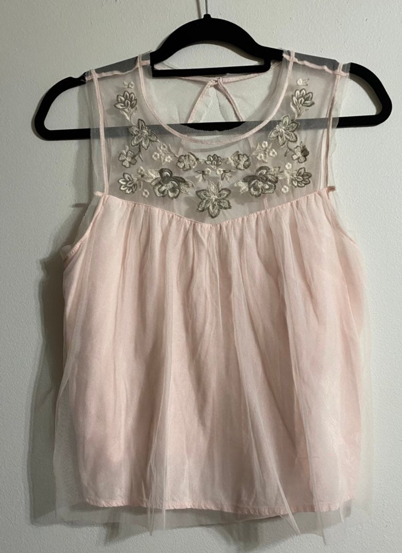 Hollister Embroidered Tulle Tank Top M