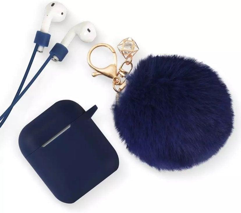 Midnight Blue Fur Ball Airpod Case