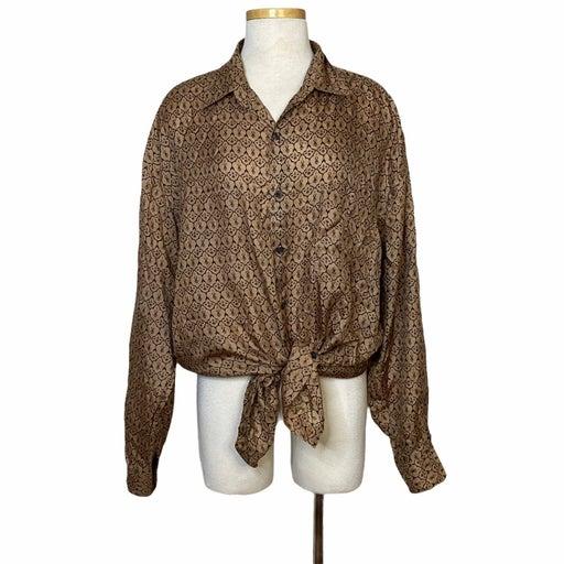VTG Silk Tan Printed Button Up Long Sleeve Pocket Blouse Top L Large