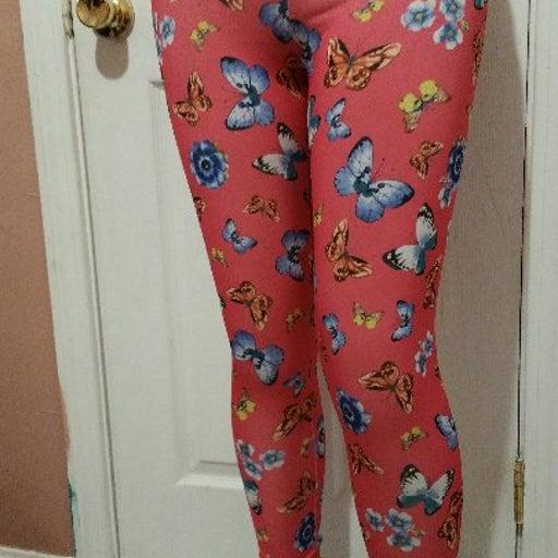 Pink Butterfly legging mix print women