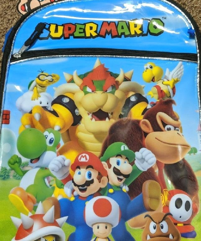 Super Mario Bros backpack w/water bottle