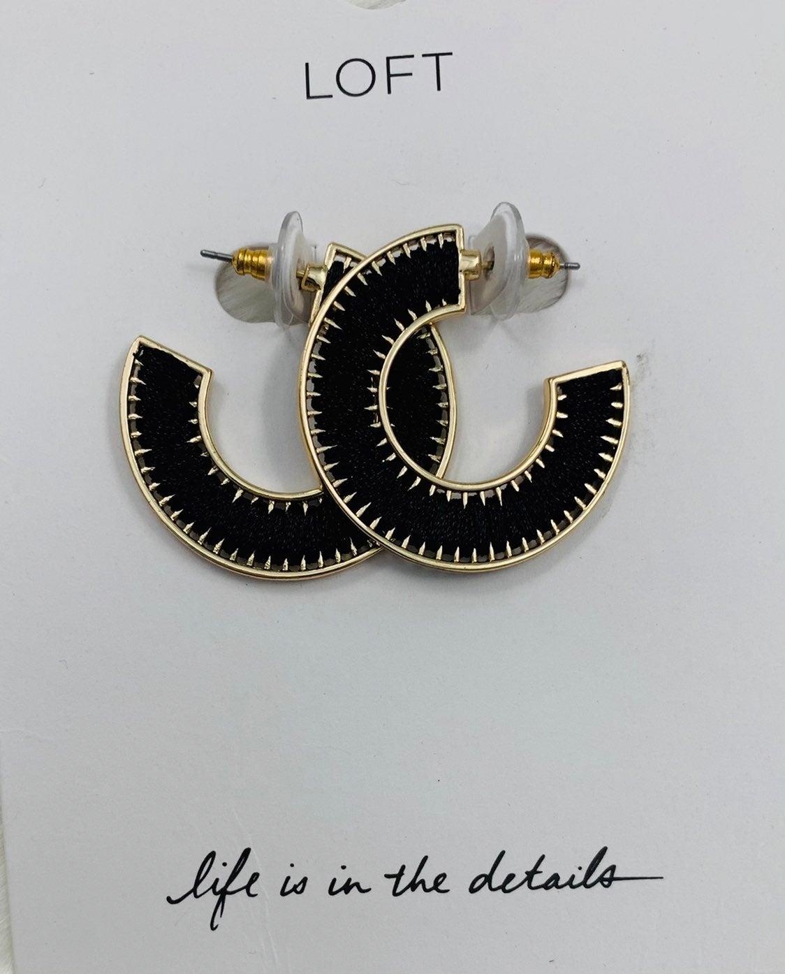 Loft Black Fabric Hoop Earrings