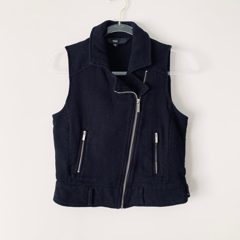 Mossimo Black Moto Zipper Vest
