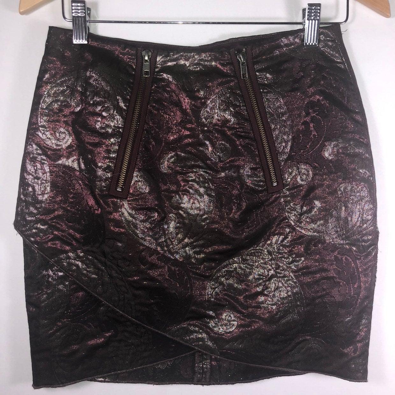 Rych Size 2B Brown/Gold Mini Skirt