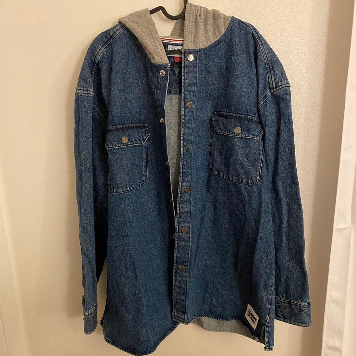 tommy hilfiger jean jacket hoodie
