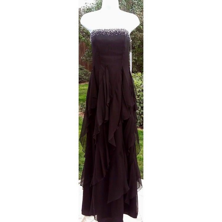 Black silk chiffon strapless gown
