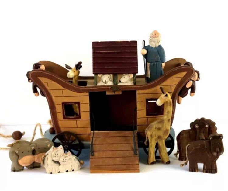Wooden Ark with Noah and Animals