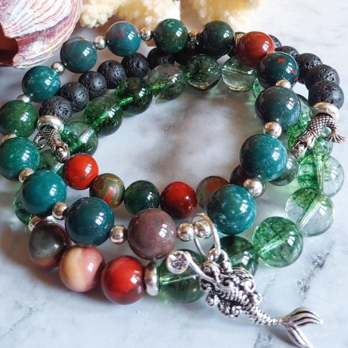 Mermaid Crystal Bloodstone Lava Bracelet
