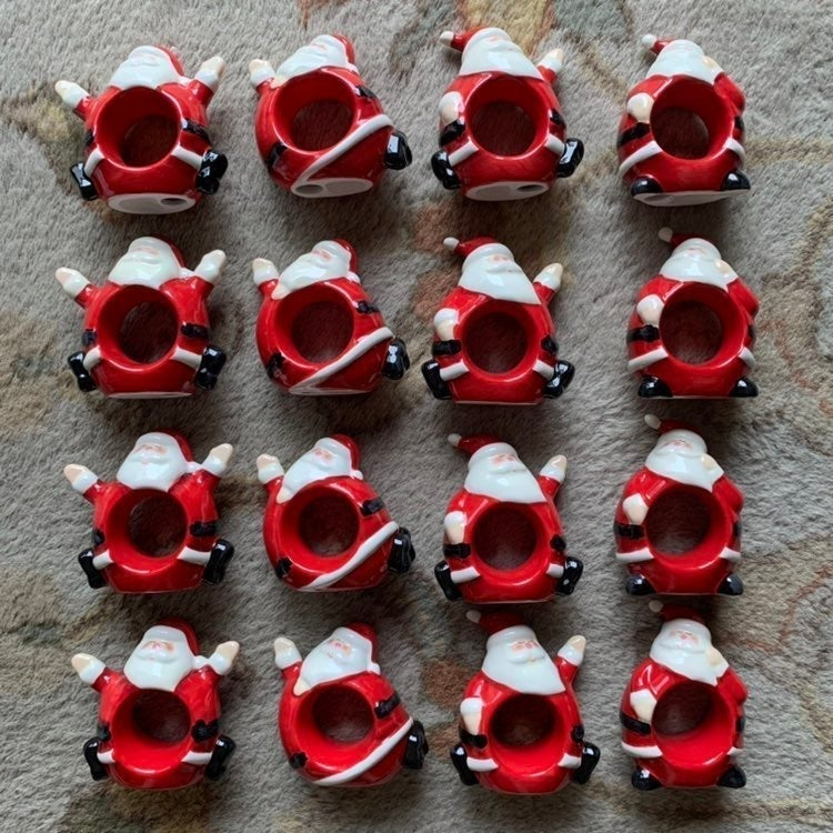 16 Williams Sonoma Santa Napkin Rings