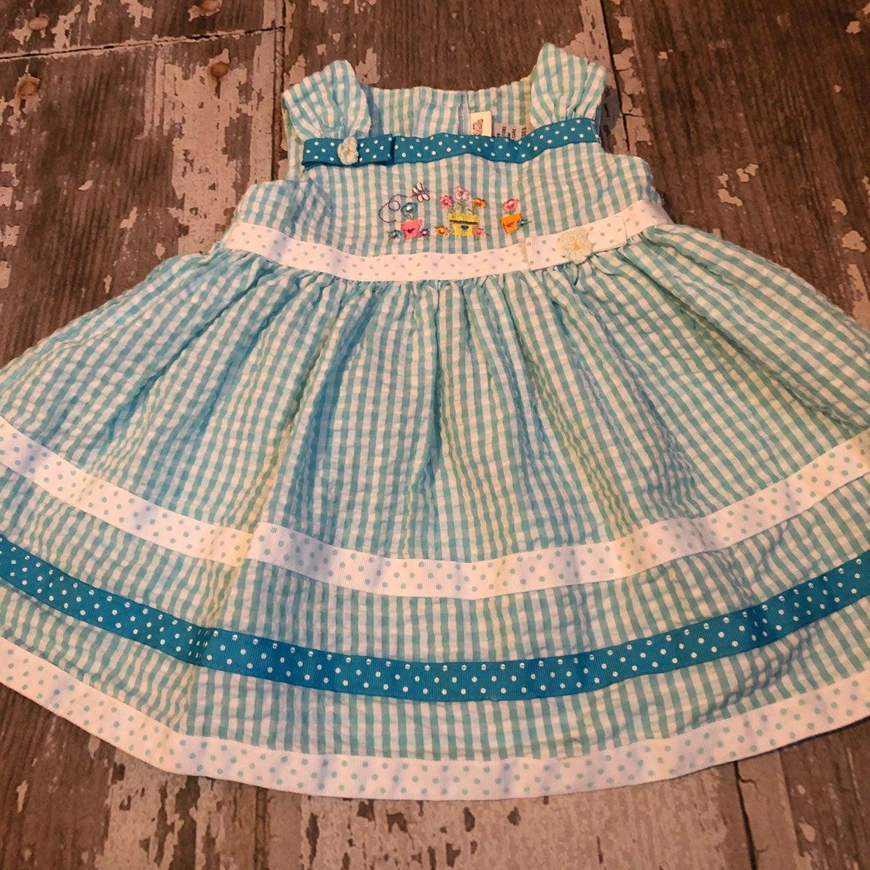 Aqua Gingham Seersucker Dress 12 months