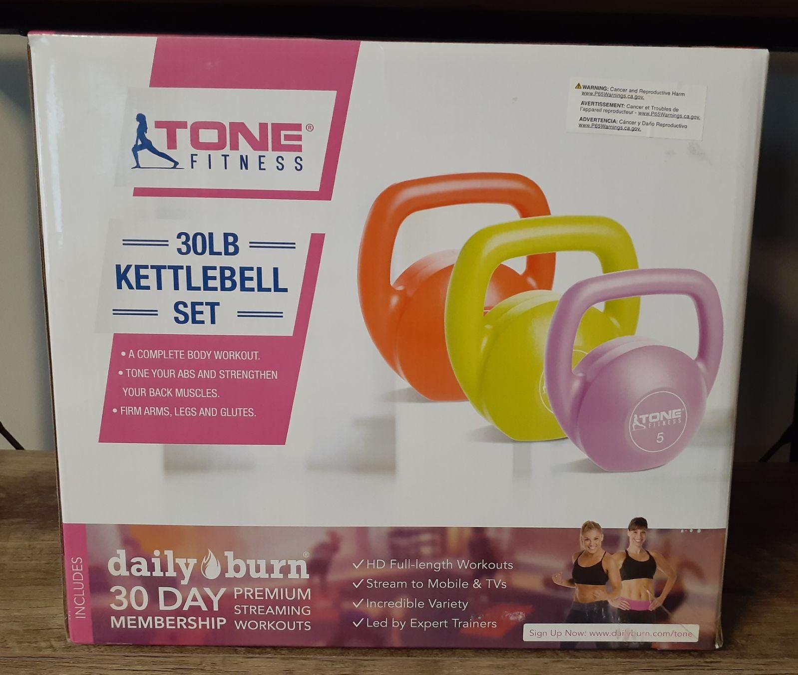 Tone Fitness 30lbs Kettlebell Set Bundle